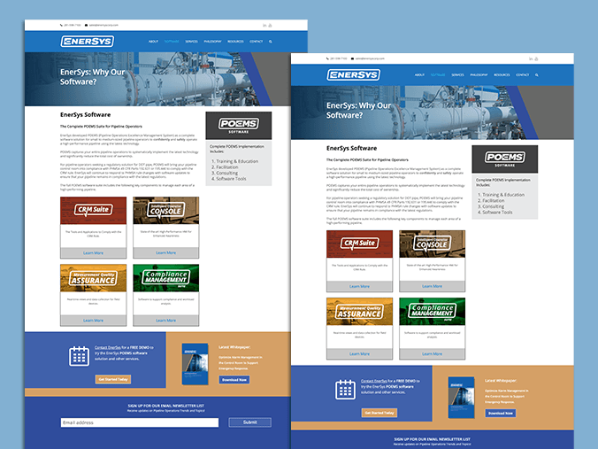 EnerSys Corporation updated our website in 2020 to better reflect pipeline operations support, services, and software
